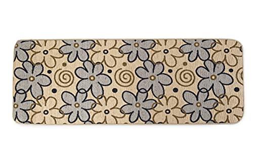 HomeLife Tappeto Cucina Antiscivolo Lavabile Lungo 55X140 Made in Italy | Passatoia Moderna in Ciniglia con Fantasia a Fiori | Tappeto Runner Lungo Colorato [55X140, Beige]