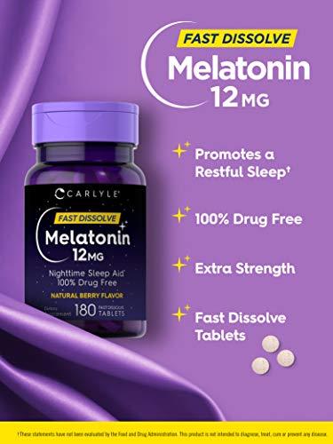 Carlyle Melatonin 12 mg de disolución rápida 180 comprimidos    Ayuda para dormir durante la noche    Sabor natural a bayas    Vegetariano, sin OMG, sin gluten