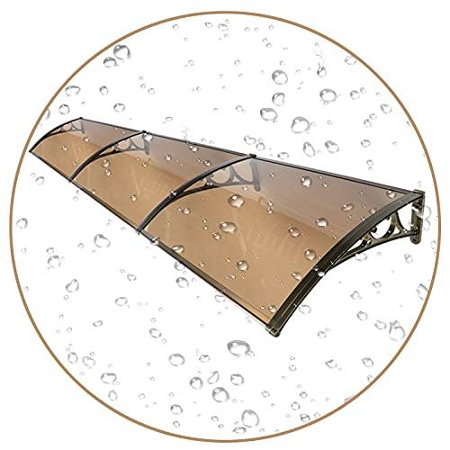 QIANDA Policarbonato Marquesina De Puertas, Protección UV Toldo Hoja Hueca Aislamiento Térmico Lluvia Nieve Resistente por Al Aire Libre Dosel Tejado, 3 Paneles (Color : Brown, Size : 80cmx300cm)