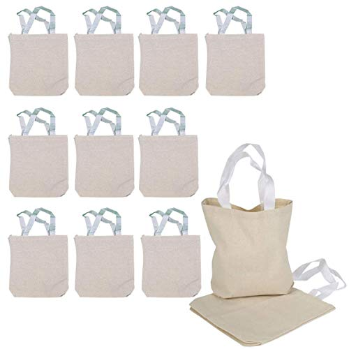 Kicko Blank Canvas Tote Bag 8.75 X 8.25 X 2.5 Inches - 12 Pieces - Color Beige - Durable Reusable Bags - Travel and to go Reusable Hand Bags, Beach Bag Crafting, Decorating