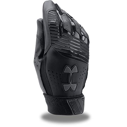 Under Armour Boy's Clean Up Baseball Batting Gloves, Black (002)/Graphite, Youth Medium
