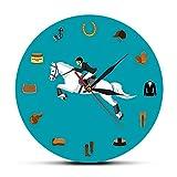 guijinpeng Equestrian Sport Equipment Set Reloj de Pared Moderno Equipo de equitación Accesorios de Pista Reloj de Pared Equestrianism Horse Lover Regalos