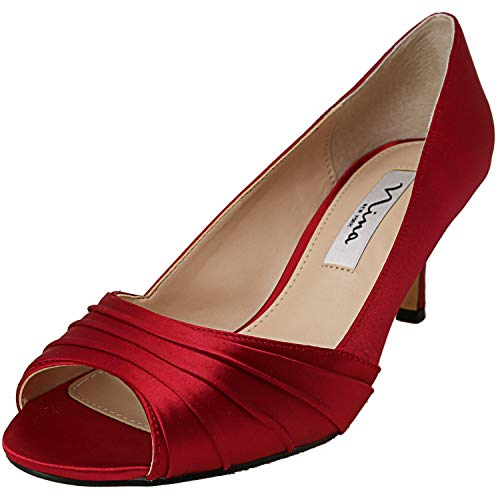 Price comparison product image NINA Women's Chezare Crimson Crystal Ankle-High Fabric Pump - 7W