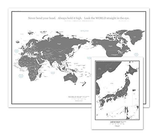 ミニマルマップ 世界地図 シンプル で おしゃれ な インテリア ワールド マップ (A1 + A3日本地図(グレー)...