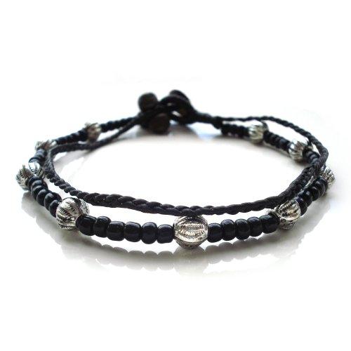 Idin Fußband - Doppelsträngig aus gewachsten Fäden und mit schwarzen und silber Beads (ca. 25 cm lang)