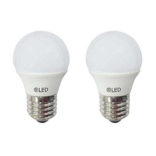 RLED Pack d'ampoules LED sphériques avec lumière chaude E27, 5.2 W, Jaune, 4.5 x 7.4 cm, lot de 2
