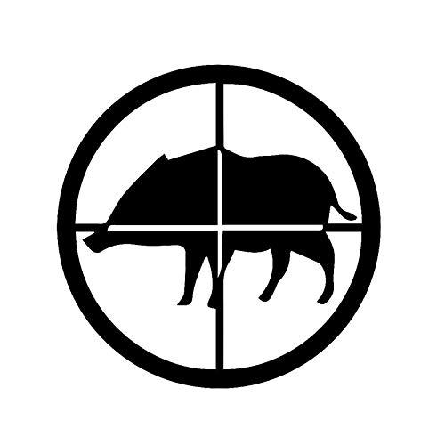 SUIFENG Autoaufkleber 14.3 cm X 14.3 cm Kreative Tierjagd Schießen Wildschwein Auto Aufkleber Schwarz Silber