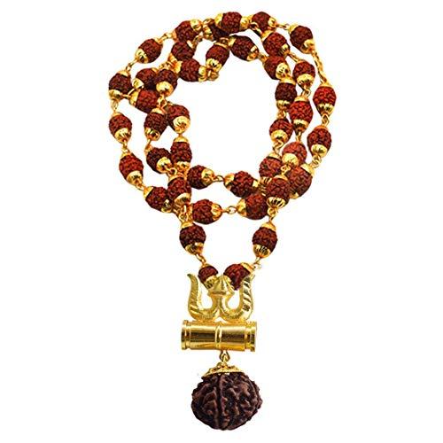UK Galaxy Store Rudraksh Golden Caping Mala con colgante de latón Kavach Rudraksha Trishula Damru