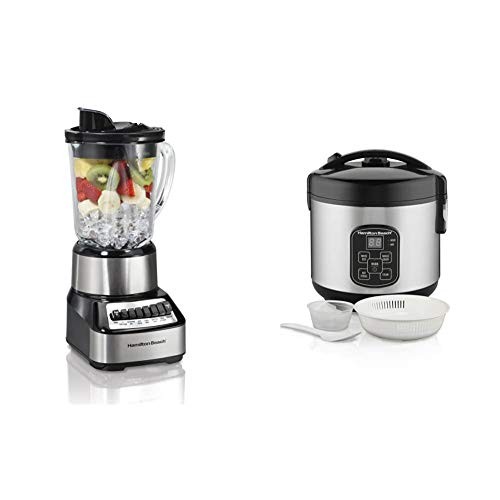 Hamilton Beach Wave Crusher Blender with 40oz Glass Jar (54221) & Beach Digital Programmable Rice Cooker & Food Steamer, 8 Cups Cooked (4 Uncooked), With Steam & Rinse Basket, Stainless Steel (37518)