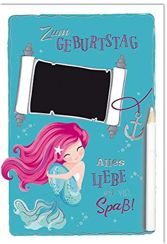Geburtstagskarte - Geburtstag Karte - coole Geburtstagskarten - mit Tafelfolie zum individuellen beschriften - 17,0 x 11,5 cm - inkl. Umschlag - Motiv: Meerjungfrau
