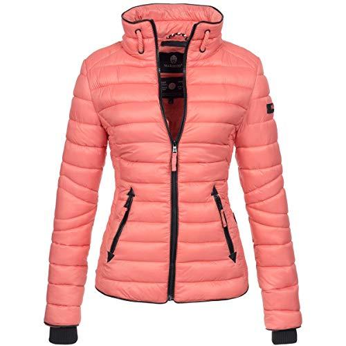 Marikoo Damen Jacke Steppjacke Übergangsjacke gesteppt mit Kordeln Frühjahr Camouflage B405 [B405-Lola-Corail-Gr.XS]
