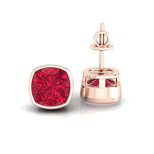 Diamondrensu 1.85 CTW Cushion Cut Lab Created Red Garnet Earrings, Cushion Studs for Women, Bezel Set Wedding Earrings, Screw Back Earrings, Engagement, 18K Rose Gold