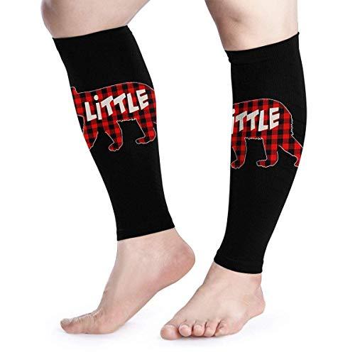 Plaid Little Bear - Manga de compresión para pantorrilla, soporte de pierna para aliviar el dolor de la pantorrilla