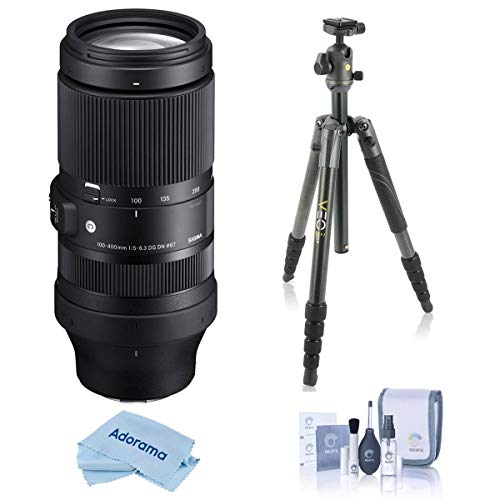 Sigma 100-400mm f/5-6.3 DG DN OS Contemporary Lens for Sony E - with Vanguard VEO 2 265CB 5-Section Carbon Fiber Tripod with BH-50 Ball Head Gray, Cleaning Kit, Microfiber Cloth