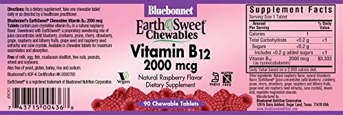 Bluebonnet Earth Sweet Vitamin B-12 2000 mcg Chewable Tablets, Raspberry, 90 Count