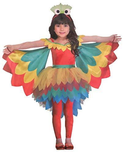 Brandsseller Mädchen Kostüm Verkleidung Fasching Karneval Party - in verschiedenen Größen erhältlich (Medium 7-10 Jahre, Papagei)