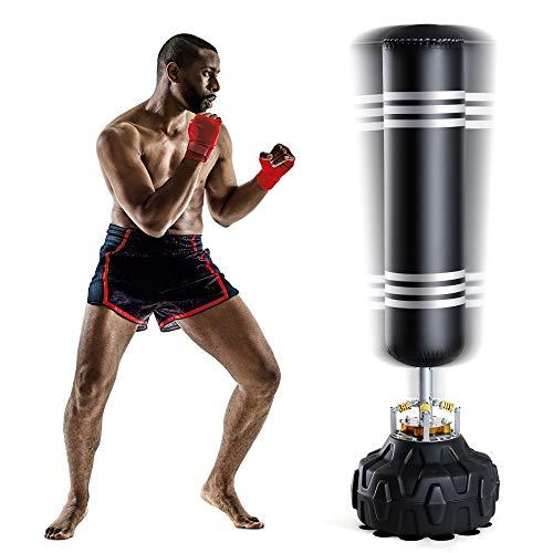 Fnova - Saco de boxeo con base, para niños y adultos, para artes marciales mixtas, boxeo y entrenamiento de patadas, con base de ventosa, 170 cm, negro, 170cm/5.6Ft