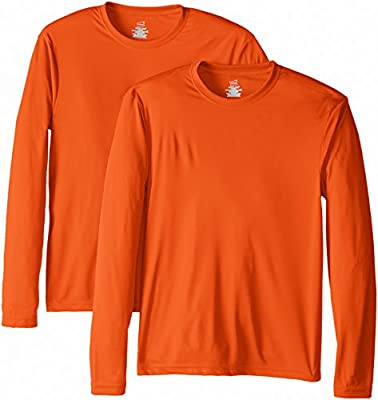 Hanes Men's Long Sleeve Cool Dri T-Shirt UPF 50+, Small, 2 Pack ,Safety Orange