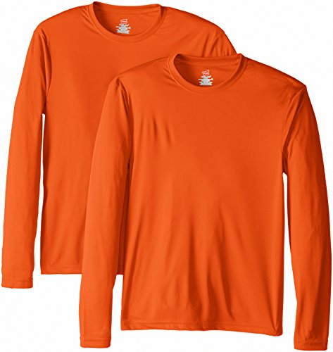 Hanes Men's Long Sleeve Cool Dri T-Shirt UPF 50+, XX-Large, 2 Pack ,Safety Orange