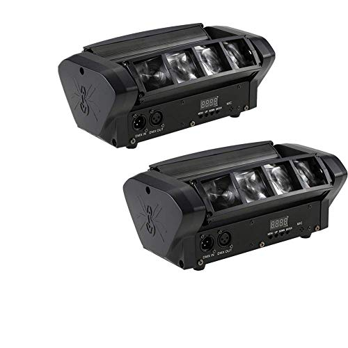 Spider Moving Head Light 8x10W LEDs Beam DJ Lights RGBW Sound Activated and DMX-512 Control for Party Pub Disco Show Wedding Event Stage Lighting (2Pack)