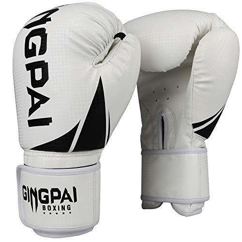 GINGPAI Boxing Gloves for Men Women,Punching Bag Gloves, Kickboxing ,Muay Thai,MMA Training Gloves(White-Black, 8OZ)