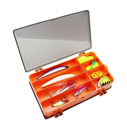 SuDeLLong Caja de Aparejos de Pesca Caja de plástico de Dos Caras Pesca de Pesca Almacenamiento de Almacenamiento Organizador Pequeña Caja de Aparejos de Pesca (Color : Orange, Size : 18x11x4.6cm)
