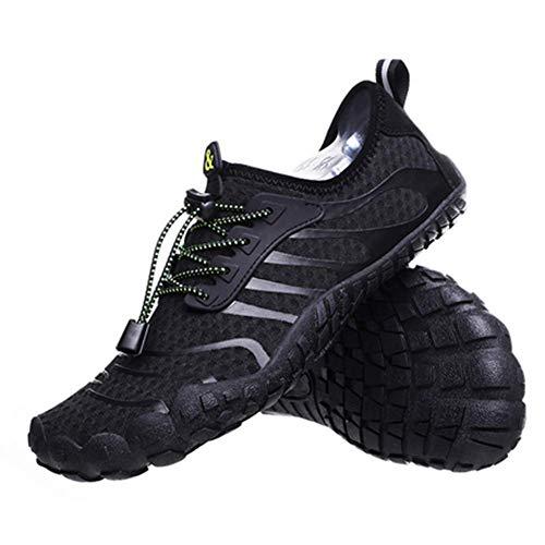 JJZXLQ Zapatos de Agua, Unisex Descalzo al Aire Libre Secado rápido Zapatos de Agua Mujeres Hombres para Aqua Beach Vacation Swim Diving Surf Yoga,Negro,41