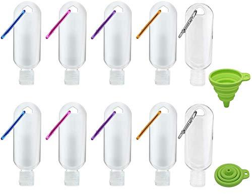 Botellas de Viaje Portátiles, 50 ml/1.7 oz Botellas de Plástico Vacías Recargables, Tapa Abatible a Prueba de Fugas, con Mosquetón, Embudo,para Desinfectante de Manos, Loción