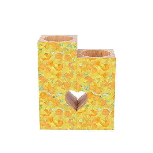 Portavelas de té, bonito cojín o narcisos amarillos dorados, personalizados, de madera, con forma de corazón, para decoración rústica, boda, fiesta, cumpleaños, día festivo