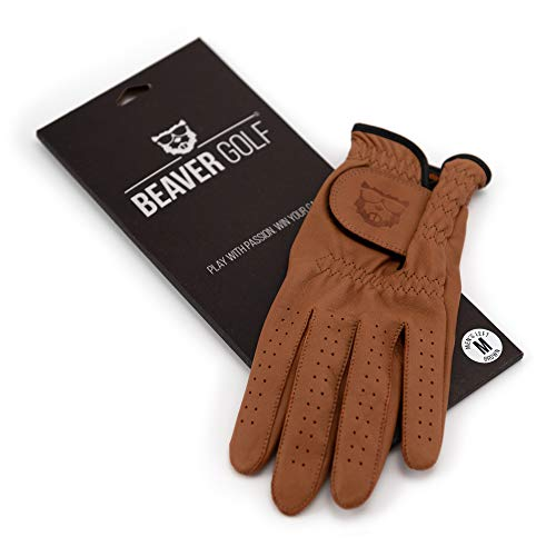 BEAVER GOLF Damen Golf Handschuh Glove braun - Grip-Patch, Cabretta-Leder - maximale Qualität - Handarbeit (M, Rechts (Linkshänder))