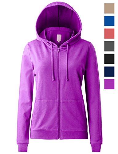 Regna X Women's Long Kangaroo Pocket Tunic Full Zip Hooded Sweatshirt Purple S