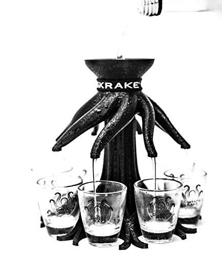 Schnapskrake® - Das Original- Schnapsverteiler für 8 Personen- made in Germany (schwarz, ohne Gläser) - Schnaps Ausgießer