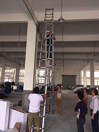 20ft Telescopic Professional Folding Aluminum Multi Purpose Telescoping Ladder Extension Ladder with Spring Loaded Locking (Ladder 4.2M+ 4.2M)
