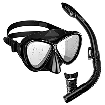 ANGGO Snorkel Set Anti-Fog Film Dive Mask Snorkel Combo Tempered Glass Goggle and Dry Top Snorkel for Swimming and Snorkeling