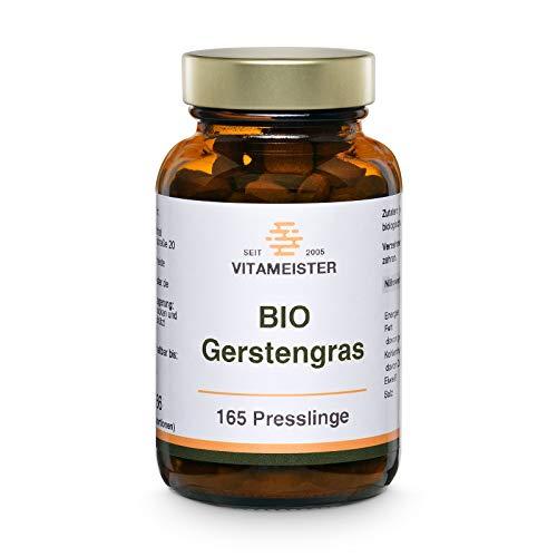 vitameister BIO Gerstengras Presslinge, 165 Tabletten im Braunglas, Rohkostqualität, deutsche Fertigung