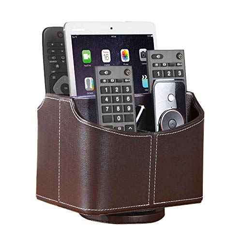 Leather Remote Control Holder, 360 Degree Spinning Desk TV Remote Caddy/Box, Coffee Table Organizer for Controller, Media, Calculator, Mobile Phone and Pencil Storage