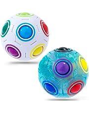 Vdealen Magic Rainbow Ball, Paquet de 2 Speed Cube Puzzle Ball Fidget Ball avec 11 Balles Jouets éducatifs