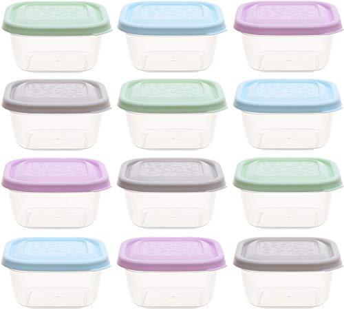 idea-station Vorratsdosen-Set 12 Stück, 300 ml, Pastell, mit Deckel, stapelbar, Frischhaltedosen, Aufbewahrungsboxen, Lunchbox, Küchenhelfer, Meal Prep, Gefrierdosen