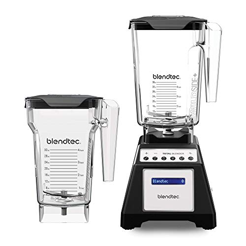 Blendtec Total Classic Original Blender - WildSide+ Jar (90 oz) and FourSide Jar (75 oz) - Professional-Grade Power - 6 Pre-programmed Cycles - 10-speeds - Black
