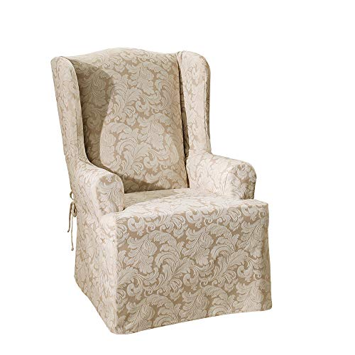SureFit Scroll - Wing Chair Slipcover - Champagne