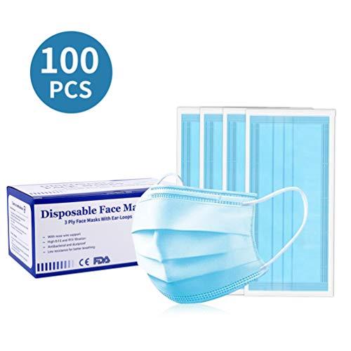 100Pcs Tamaño de Cara Libre desechable Azul 3- PLY