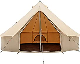 Premium 100% Cotton Canvas Bell Tent, Water Repellent complete with Steel Center & Door Pole, Roof Vents, Bug mesh Doors & Windows for All Season Camping and Glamping (10ft (3M), Water Repellent)
