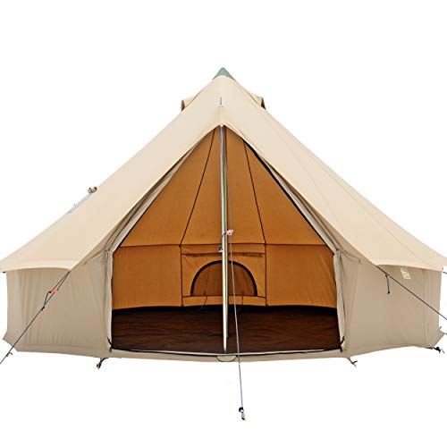Premium & Breathable 100% Cotton Canvas Bell Tent, Waterproof Large tents w/ Galvanized Steel Center & Door Pole and space for 4 person 6 person 10 person All 4 four Season Camping yurt style tent
