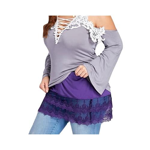 N\P Mini falda camisa extensores encaje hueco costura falda corta extensores para