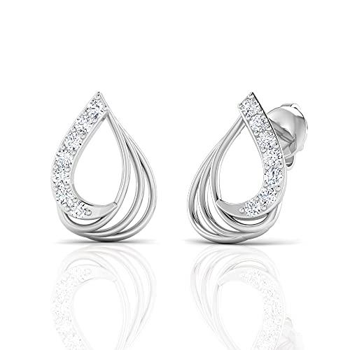 Orecchini da donna in oro bianco con diamanti da 0,08 carati, orecchini da donna, orecchini fatti a mano, orecchini per ragazze, regali per moglie