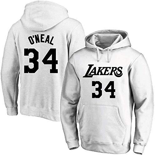 Shelfin NBA Jerseys - Sudadera con capucha para hombre y mujer, diseño de la NBA Lakers n.º 34 O'neal Jerseys, color Blanco B, tamaño Large