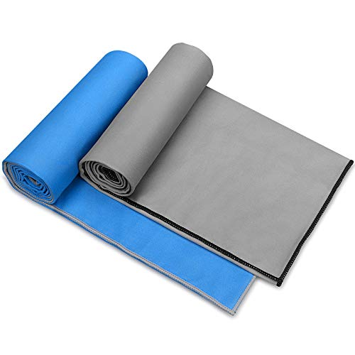 Awenia Camp Towel Quick Dry Microfiber Towel 2 Pack , Compact Travel Towel for Gym, Sports, Hiking, Backpacking, Swimming, with Carry Bag 2 Pack(Grey + Blue, 48'' x 24'')