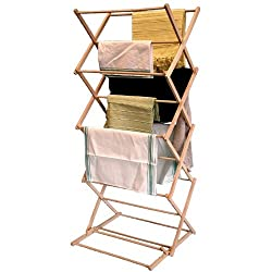Traditional design clothes airer for home Can be adjusted at the top to suit the height you need Can be folded away flat for storage, when not in use Made from solid beechwood to provide a quality finish Size: Open - 60 x 50 x H115-145 cm; closed - 6...