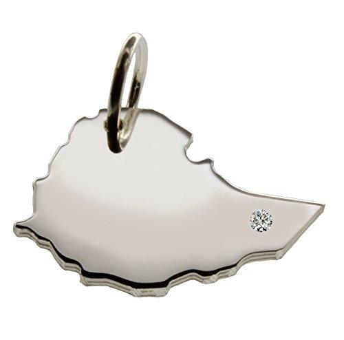 Esclusivo Etiopia Mappa ciondolo con Brillant sul luogo a scelta (Posizione A SCELTA.)–massiccio 925Argento Sterling, Deutsche mestiere–925er argento gioielli
