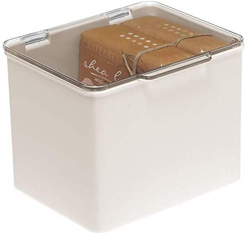 mDesign Bathroom Stackable Plastic Storage Bin Box with Hinged Lid Organizer for Vitamins Supplements product image